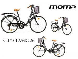 bicicleta híbrida moma city classic 26