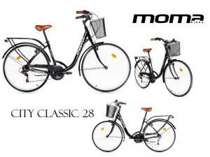 bicicleta híbrida moma city classic 28